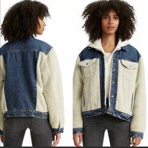 Levi's Ex Boyfriend All Goes Wool Pieced Denim Sherpa Jacket NWT Size XL